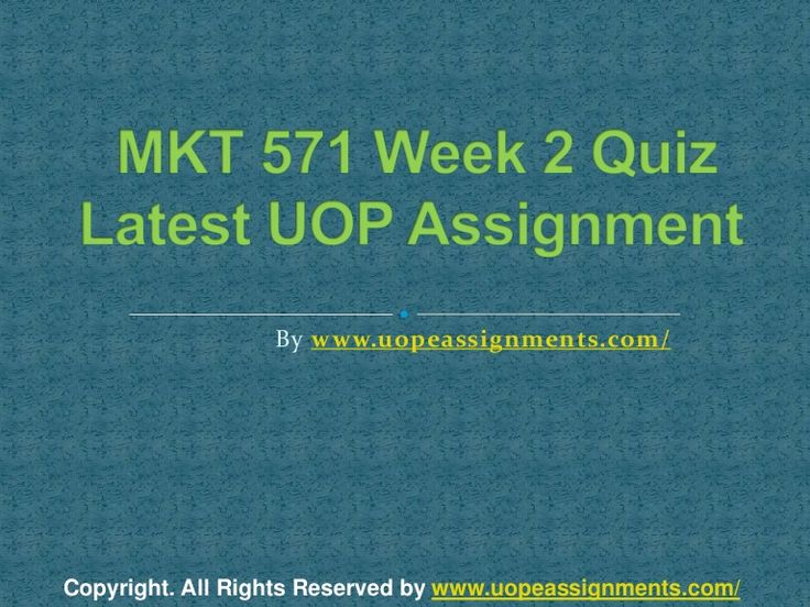 Get an A+ is quite difficult but knowing that the how to get it and still not doing so is foolish. Join http://www.UopeAssignments.com/ and we provide all the course including MKT 571 Week 2 Quiz Latest UOP Assignment that will lead you to success