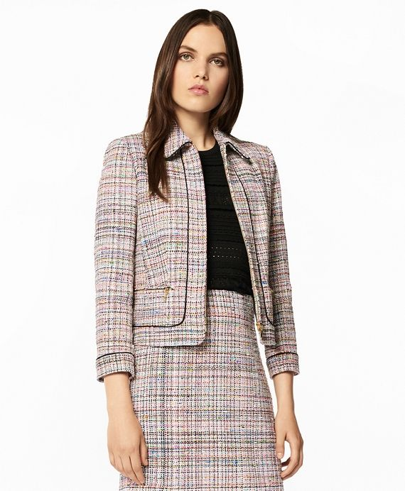"""The Brooks Brothers Women's Collection by Creative Director Zac Posen<br>A pretty pastel palette with a hint of shimmer defines this sophisticated jacket. Crafted from tactile tweed woven by France's Clarenson mill, this streamlined zip-front design features a rounded point collar, black braided trim, three-quarter-length sleeves and zip front pockets. Fully lined.<br><br>19½"""" center back length; 34% acrylic, 32% cotton, 17% nylon, 16% viscose, 1% polyester; dry..."""