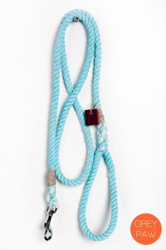 Rope dog leash: Small sea foam dyed cotton rope leash
