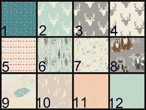 Crib Sheet, Changing Pad Cover, Crib Bedding, Baby Bedding, woodland, deer, bear, mint, gray, peach, teal