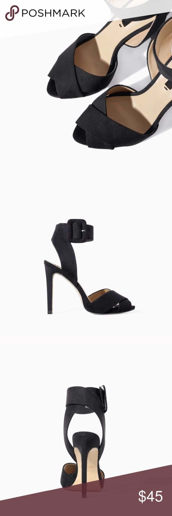 Zara black strap heels! Zara Basic Collection Brand new with tags, never worn, no damages! Size 5-5 1/2 Zara Shoes Heels