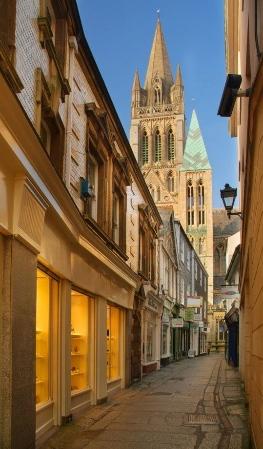 Truro city centre and Cathedral, Cornwall. This little alley way is great for lovely shops