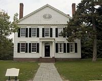 Noah Webster's New Haven home, where he wrote An American Dictionary of the English Language. Now relocated to Greenfield Village in Dearborn, Michigan.