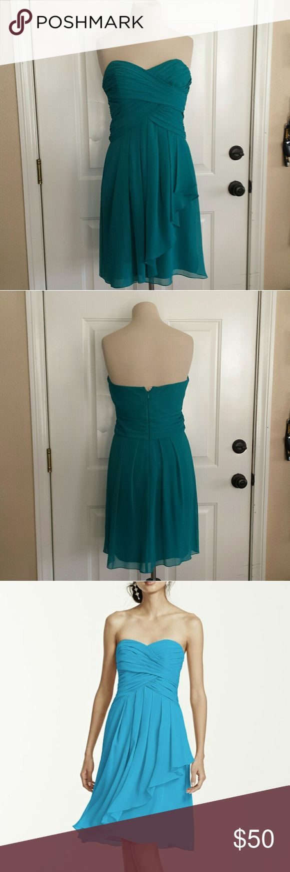 David's Bridal Teal Chiffon Bridesmaid's Dress Worn once as a maid of honor. Size 6 but a strap was added by a seamstress to make it tighter. Can be removed if needed. It is hidden. Color is called Malibu.   Wear marks pictured are on the inside so you can't see them when worn.   #bridesmaid #dress #strapless #sweetheart #chiffon #light #classy #airy #loose #flattering #slimming #curves #flowing #fauxwrap #spring #summer #fall #winter #anytime #event #party #cocktail #homecoming…
