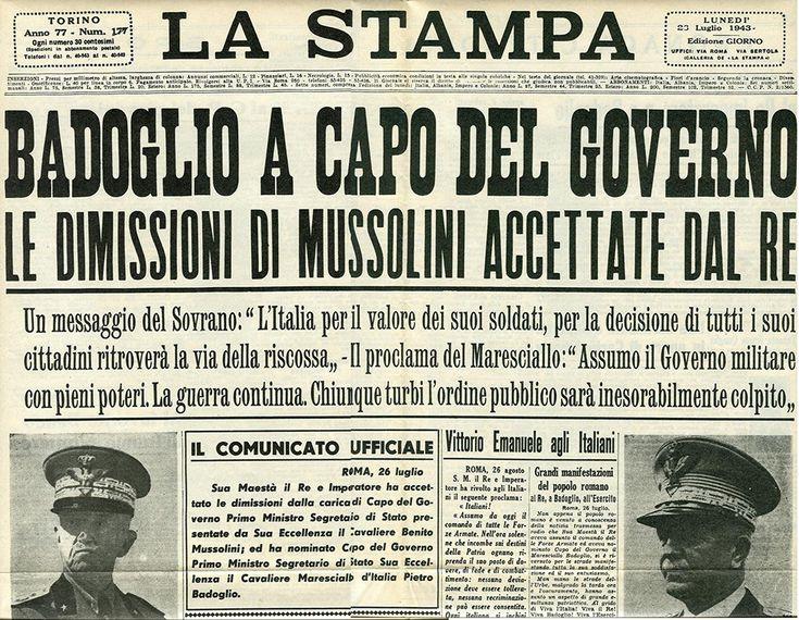 IlPost - Le dimissioni di Mussolini -  Il 25 luglio 1943 il regime fascista finì, dopo oltre 20 anni di governo dell'Italia, in seguito alle decisioni assunte il giorno precedente durante l'ultima seduta del Gran Consiglio del Fascismo. Benito Mussolini si recò dal Re che gli comunicò la sua sostituzione con il maresciallo d'Italia Pietro Badoglio e ne dispose successivamente l'arresto. Il giorno seguente, il 26 luglio, la notizia era sulle prime pagine dei giornali italiani e…