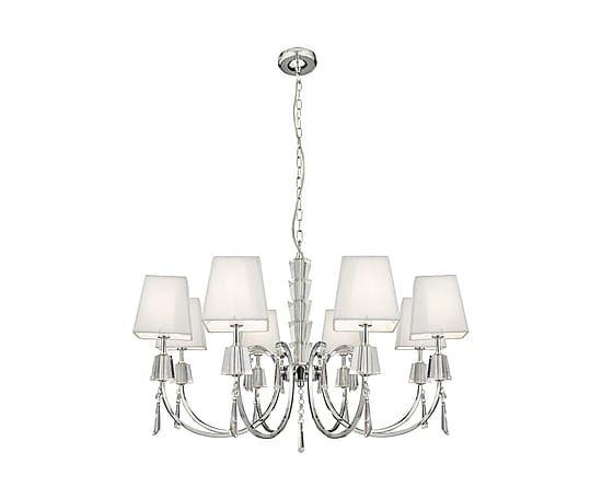 Lampadario a 8 luci in cristallo e tessuto Portico bianco, 96x60 cm