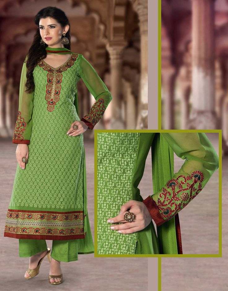 Green Georgette Pakistani Style Suit 65594