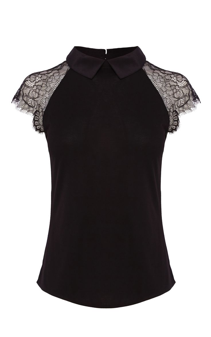 LACE SHORT SLEEVE SILK COLLAR JERSEY TOP | Luxury Women's new-in_garments | Karen Millen