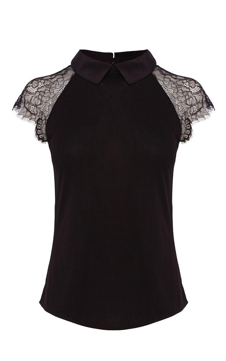 LACE SHORT SLEEVE SILK COLLAR JERSEY TOP | Luxury Women's t-shirts | Karen Millen