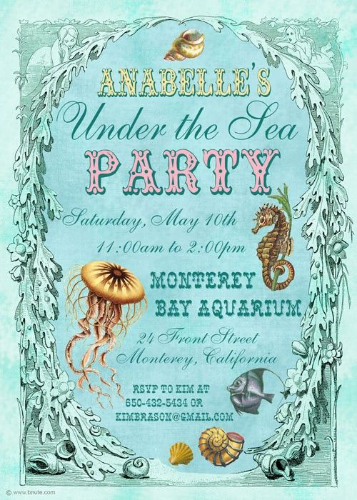 266 best images about OceanBeach Mermaid – Ocean Party Invitations