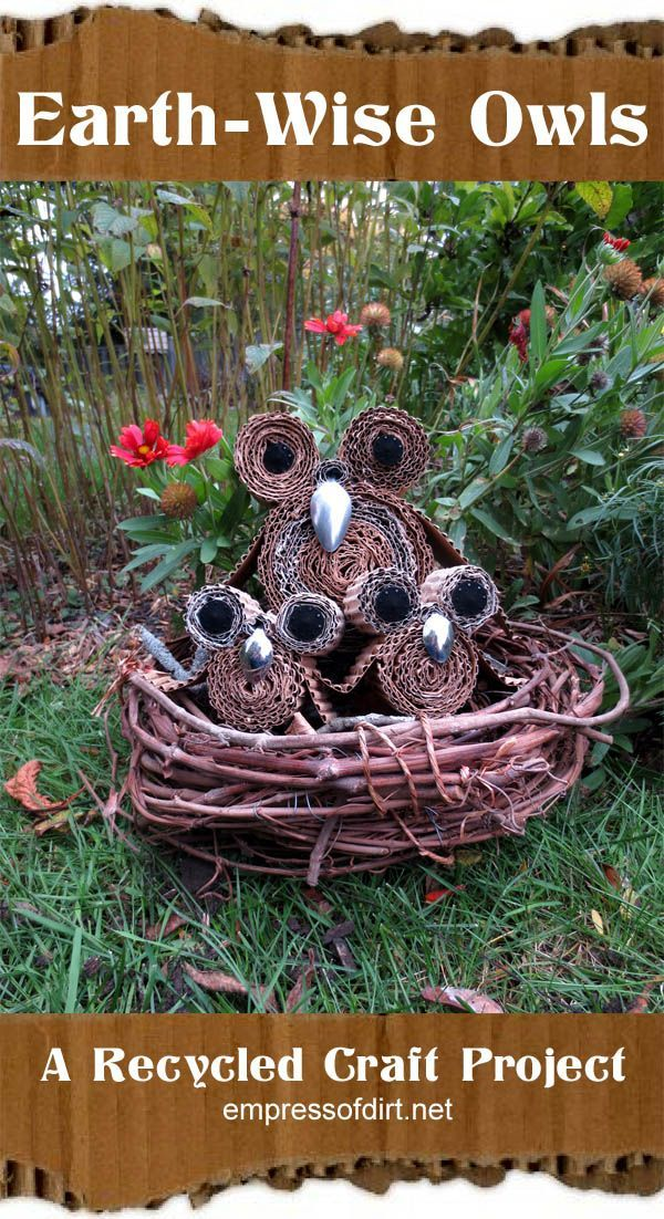 Earth-wise owls - a recycled craft project by www.empressofdirt.net