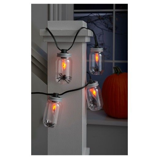 Create a spooky atmosphere for Halloween with these Flickering Jar Sting Lights. Available in a 8CT with black wire, this 5' long string of jar lights have a flickering light effect and make a great addition to your Halloween decor. Can be used either indoors or out.