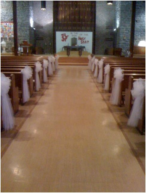 white church pew bows
