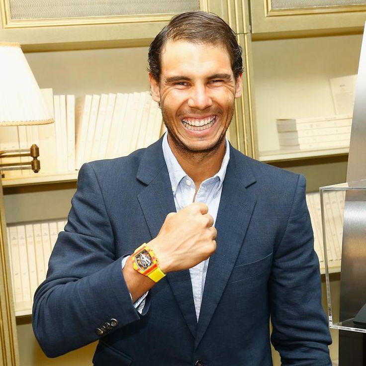 Rafael Nadal wearing Richard Mille's RM-27 tourbillon watch in orange and yellow. http://www.thejewelleryeditor.com/watches/article/rafael-nadal-richard-mille-watch-2017/ #luxury #watch
