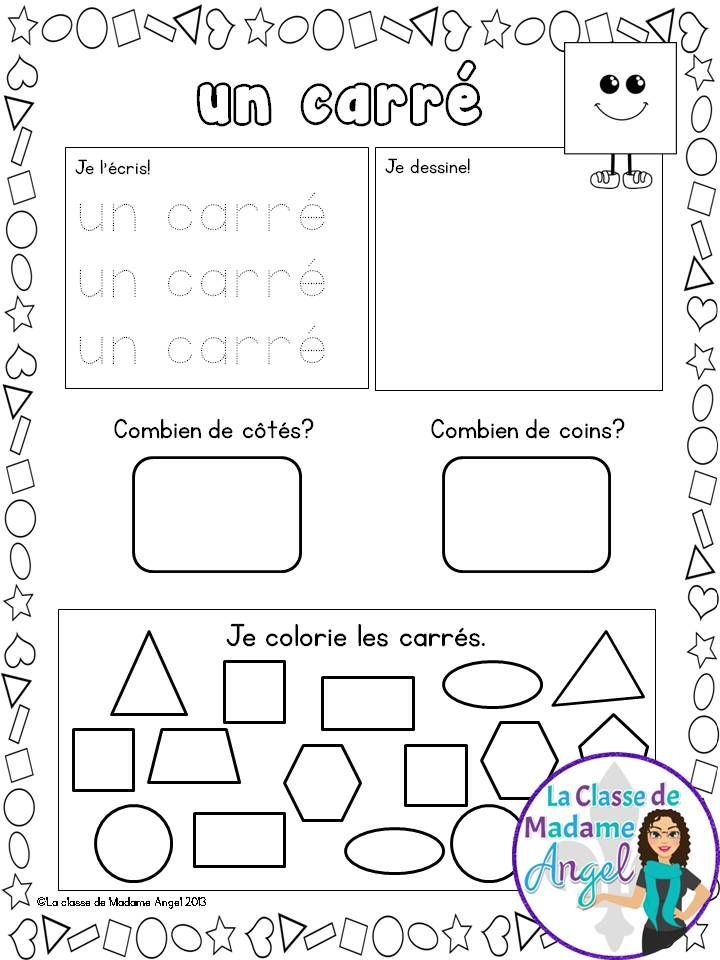 Les formes géométriques. Practice 2D shapes with this great set of printables in French!