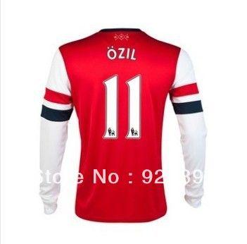 Free Shipping 2013/14 Arsenal Home Soccer Jerseys #11 Mesut Ozil Long Sleeve Red Soccer Jersey $25.99