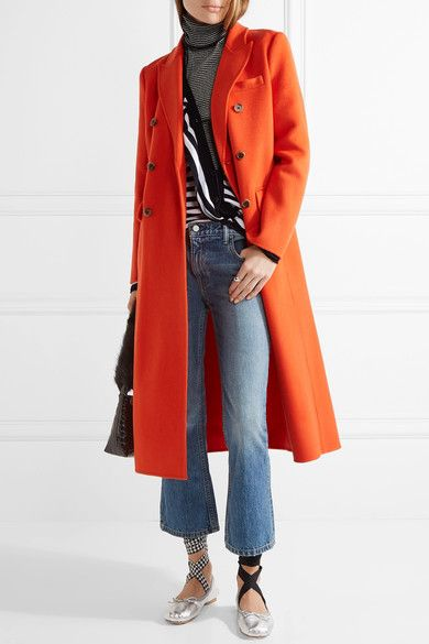 Bright-orange wool-blend Button fastenings through double-breasted front 77% wool, 20% nylon, 3% cashmere; pocket lining: 100% wool Dry clean Designer color: Radiant Orange