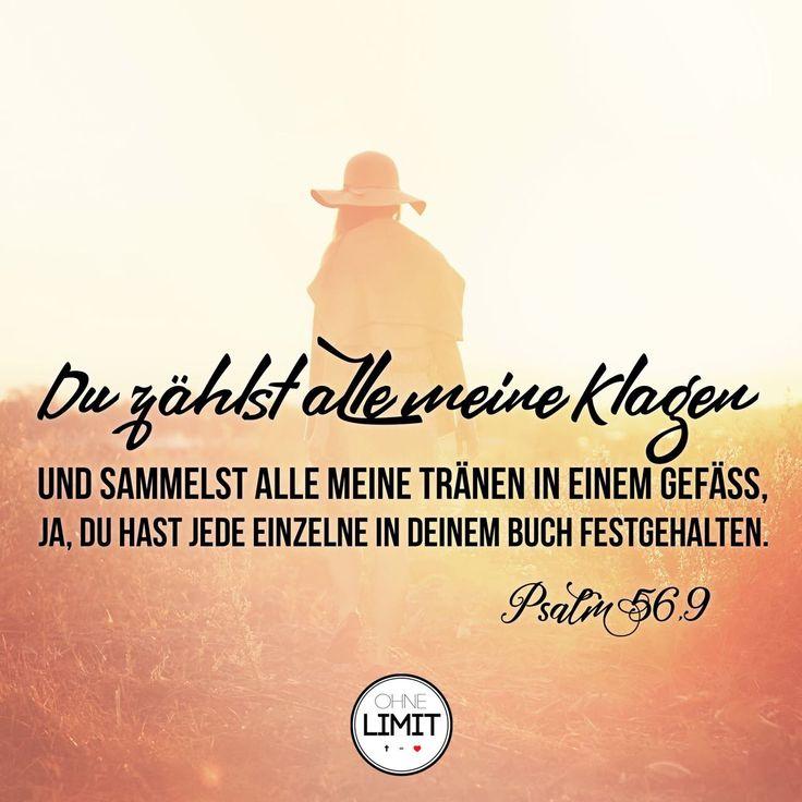 Du zählst alle meine Klagen und sammelst alle meine Tränen in einem Gefäss. Ja du hast jede einzelne in deinem Buch festgehalten. Psalm 56,9