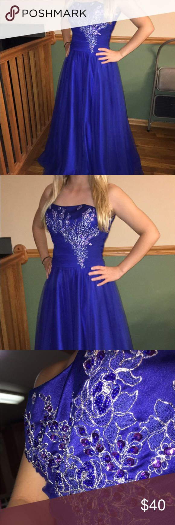 Royal Blue Beaded Gown Royal Blue Gown with beaded detailing on the bodice, light tulle material. Fits sizes 2-4. Perfect condition Dresses Prom