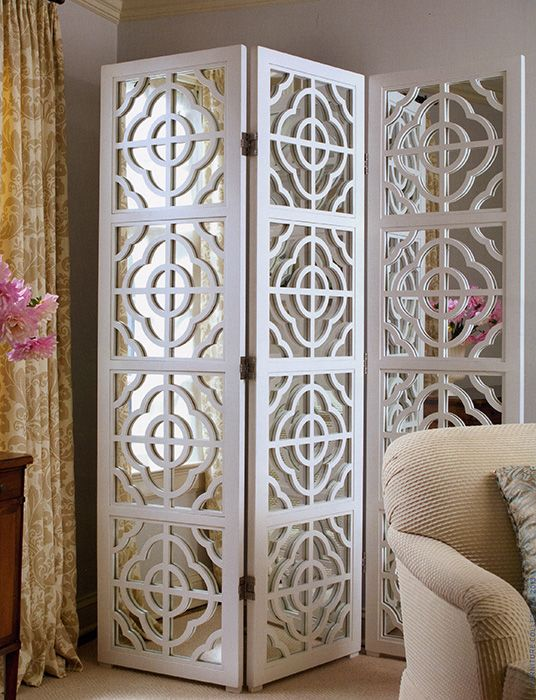 folding screens - folding screen with lacquered white finish and mirrored panels