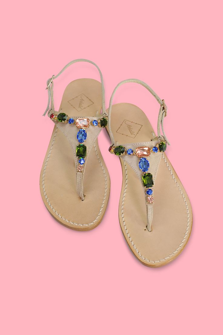 Donatella sandals in cream suede embellished with multi-coloured Swarovski Crystals. Choose your heel - 2cm or flat. Worldwide shipping. #ankaliadesigns #ankalia #donatellasandals