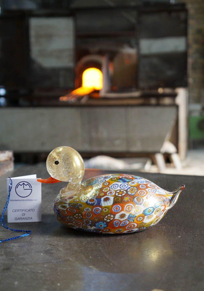 #Duck #Murano #glass #animal with #Murrina and #gold.--- #Papera in #vetro di #Murano interamente fatta a mano con #Murrina e #oro.