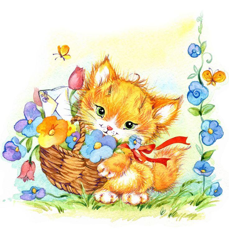 Открытки для детей кот, картинки фото ежиков