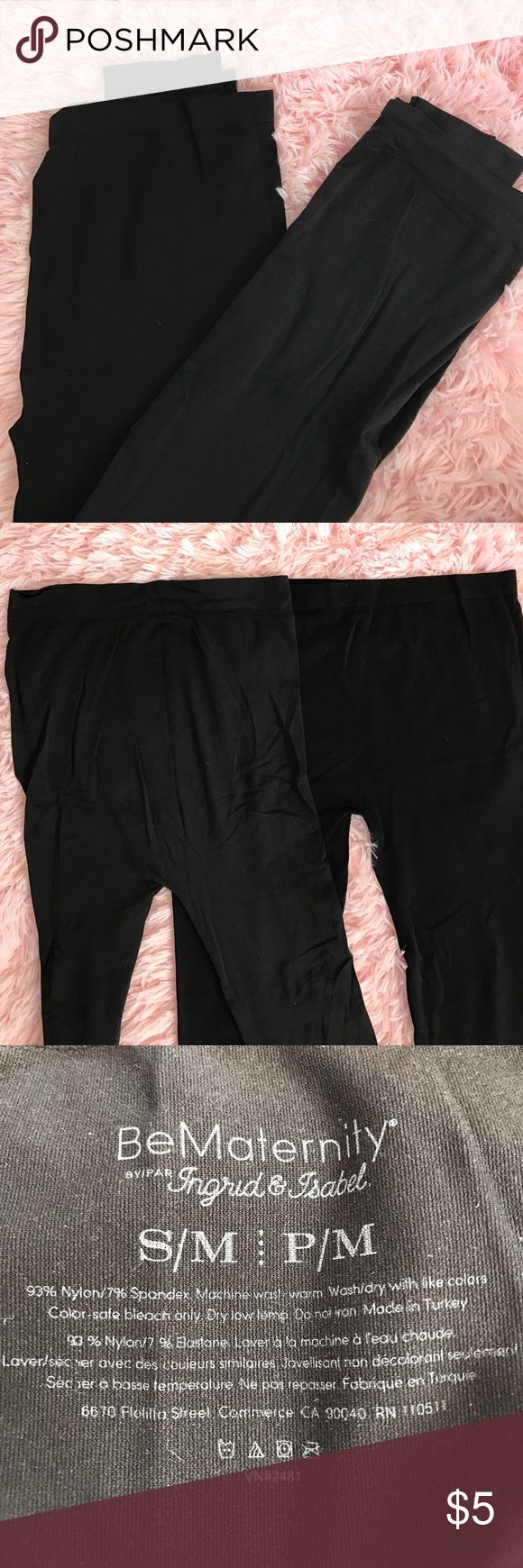 Maternity Leggings Bundle So I tried to show in the picture but one of the leggings doesn't go as high on the belly as the other (it's more for the beginner bump) • The other one covers the whole belly • both SUPER comfy • Slightly different shades of black Pants Leggings