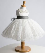Baby frock designs infant princess dress with Advanced pearl collar,1 year girl baby birthday dress,