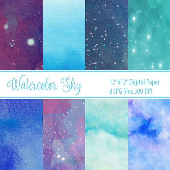 Watercolor Sky Digital Paper textured digital paper by DigiPPP