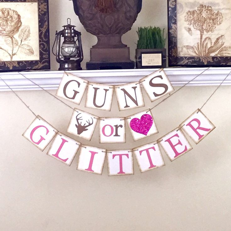 Gender Reveal banner, Rustic Baby Shower Decor, Guns or Glitter Banner, Baby Shower Decorations, Rustic Brown and Glitter Pink by WeefersDesigns on Etsy