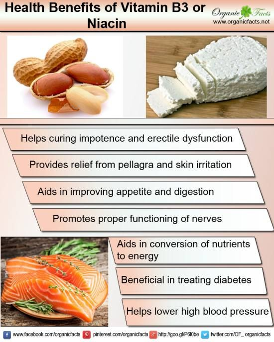 Health benefits of niacin include maintaining good blood circulation, healthy robust skin condition and normal functioning of brain, boosting memory power and improving symptoms of schizophrenia.