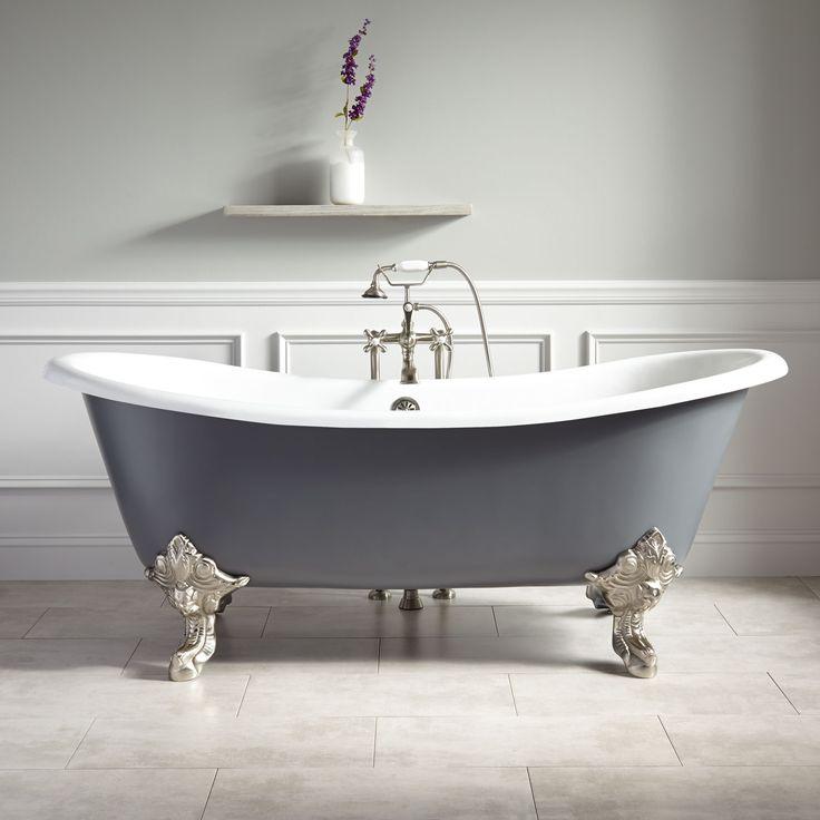 """66"""" Goodwin Cast Iron Clawfoot Tub - Imperial Feet - Dark Gray - Bathroom"""