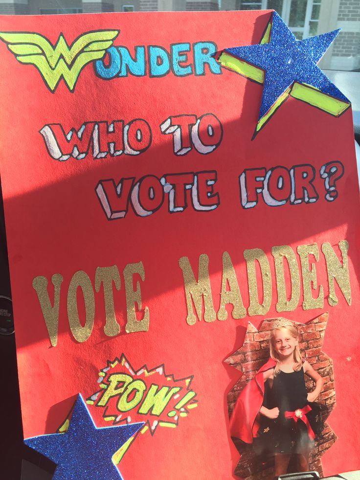 Student council posters, Student and Wonder woman on Pinterest