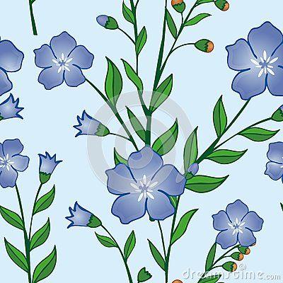 Beautiful tropical seamless pattern of blue flower vector pattern