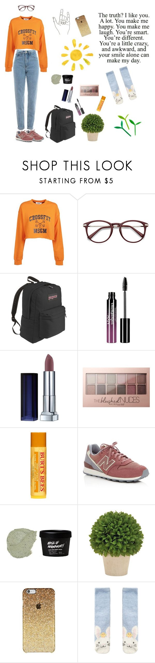 """""""Sunny Mornings at the Convenience Store"""" by owlenstar on Polyvore featuring MSGM, WALL, JanSport, Charlotte Russe, Maybelline, Burt's Bees, New Balance and Accessorize"""