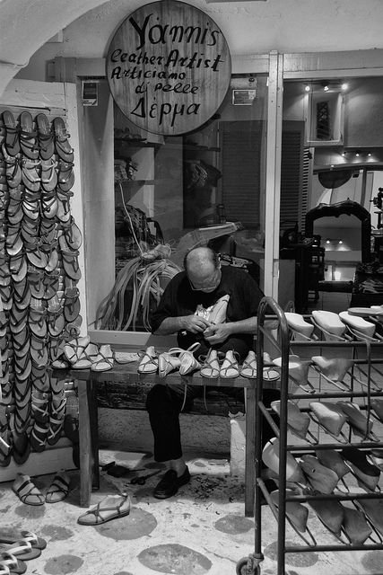 The sandalmaker Greece -this was a common sight when I first came to Greece in the Sixties.