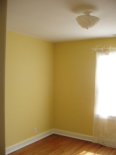 Benjamin Moore Fresh Butter - love the name, love it for the staircase hallway