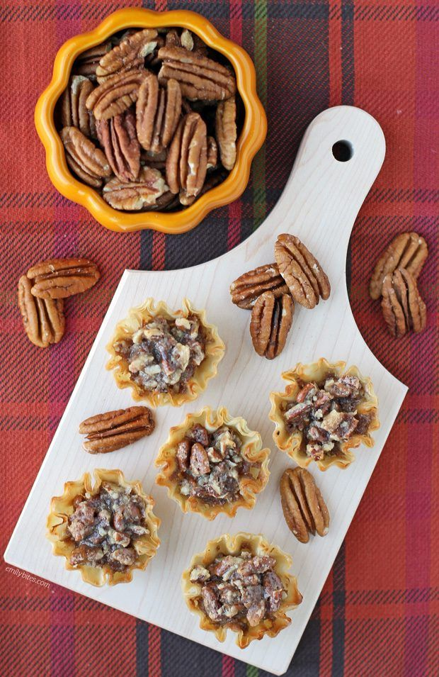 These easy, lighter Pecan Pie Bites are the perfect mini Thanksgiving or friendsgiving dessert recipe. Just 58 calories or 2 Weight Watchers SmartPoints! www.emilybites.com