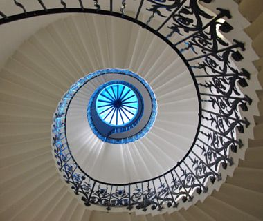 Example of radial symmetry.: Spirals Staircases, Spirals Stairs, The Queens, Queens Of England, Into The Blue, Queens House, England Uk, Spiral Staircases, Tulip Stairs