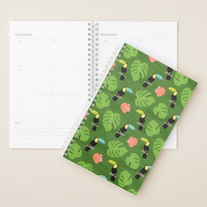 Tropical Toucan With Hibiscus Leaves Planner - floral style flower flowers stylish diy personalize