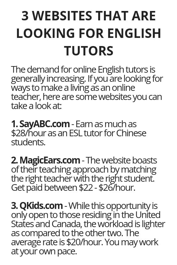 3 Websites That Are Looking For English Tutors Wisdom Lives Here Make Money Pinterest Website And How To