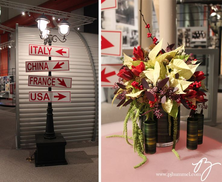 An international travel themed party at the Museum of Flight. Street lamps and candle lit floral / PJ Hummel & Co