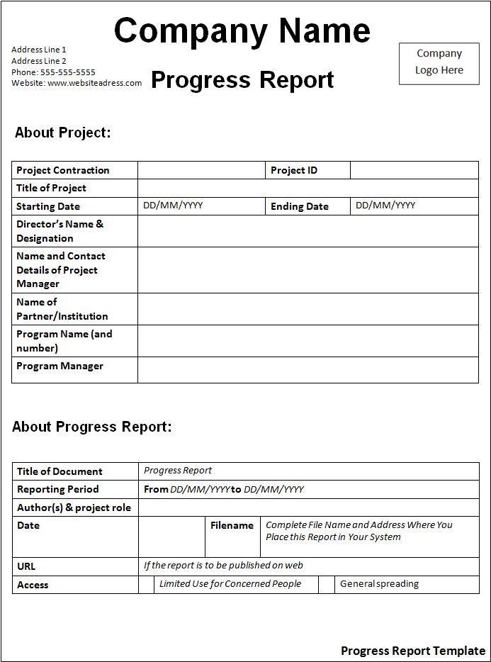 Police Report Template Progress Report Template