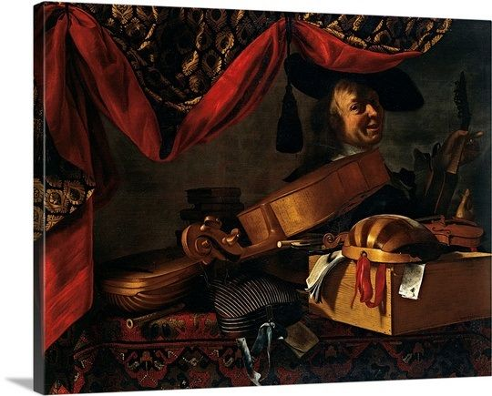 Musical Instruments with Portrait, by Evaristo Baschenis, 17th c. Brera Gallery, Milan