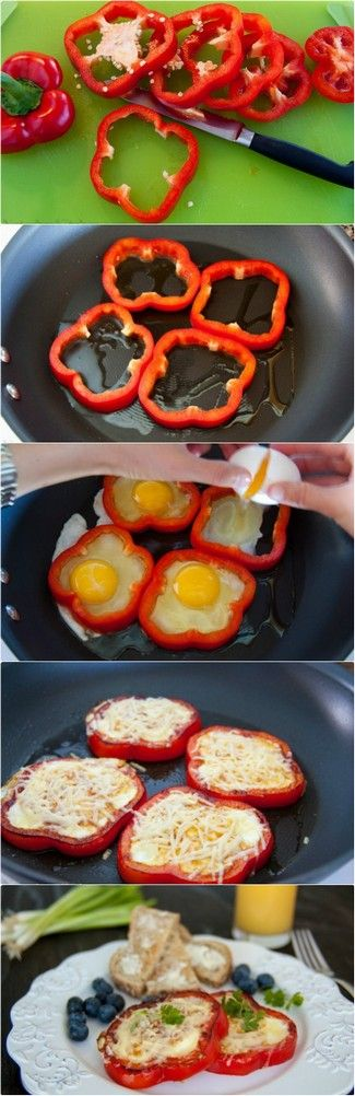 Bell Pepper Egg-in-a-hole These are yummy, easy and a nice change from the regular...we make them alot- KM