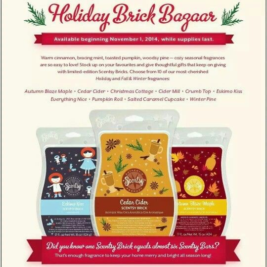 Scentsy bricks it equals out to be 5.5 bars order online at https:// vandaway.scentsy.ca or send me a message