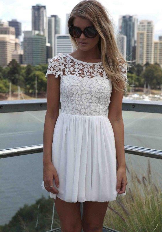 White Patchwork Draped Lace V-Back Neck Short Sleeve Chiffon Dress