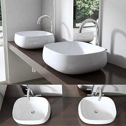 BTH: 41x36x14,5 cm Design Aufsatzwaschbecken Brüssel5104, aus Keramik, eckige Form, Waschschale, Waschtisch