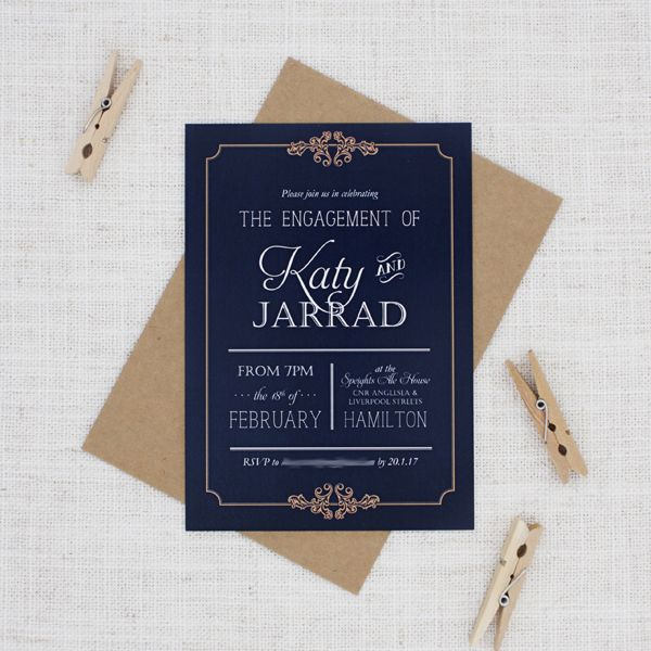 Navy and Gold Engagement Party Invitation - Be My Guest